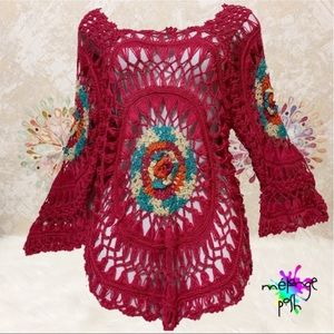 mélange posh Sweaters - Crochet Pullover Open Weave Sweater Top
